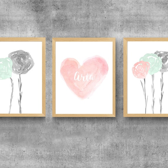 Blush and Mint Girls Floral Prints, Set of 3 with Personalized Heart
