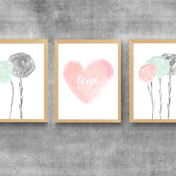 Blush and Mint Girls Floral Prints, 8x10 Set of 3 with Personalized Heart