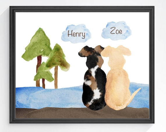 Two Dogs on the River Personalized Print; Cabin Wall Decor
