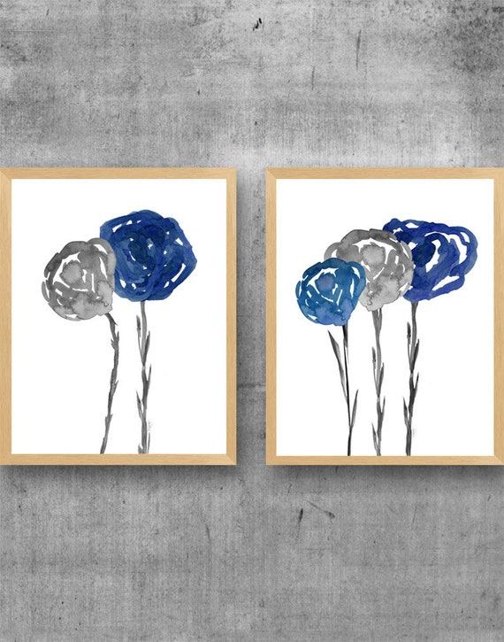 Indigo and Gray Wall Decor, 11x14-Set of 2 Floral Prints