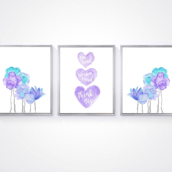 Purple and Turquoise Flower Prints for Girls Boho Bedroom