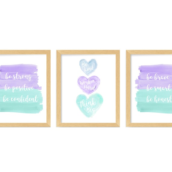 Teen Girl Room Decor, Set of 3, Inspirational Art Prints