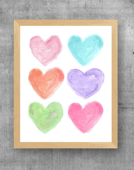 Bright Pastel Wall Decor, 11x14 Watercolor Heart Print