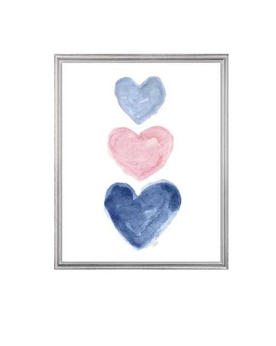 Pale Pink and Navy Girls Decor, Pink and Navy Girls Room,  Watercolor Print, Navy and Pink Nursery Decor, Blue and Pink Art for Girls