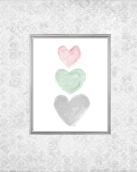 Pink, Mint and Gray Girls Print with Hearts, 5x7,  8x10