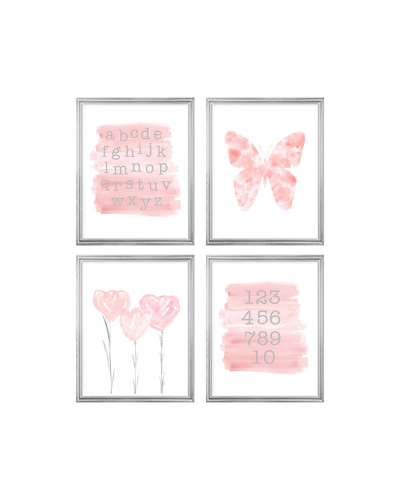 Blush Butterfly and Tulips Gallery Wall, Set of 4-8x10 Prints