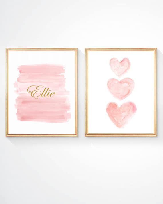 Blush and Gold Prints for Baby Nursery, 11x14, Set of 2 Personalized