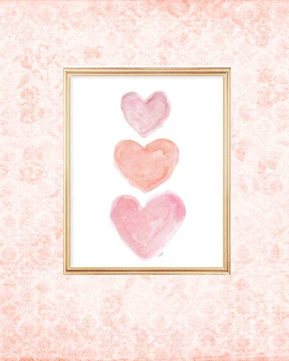 Pink and Coral Nursery Print with Hearts, 8x10