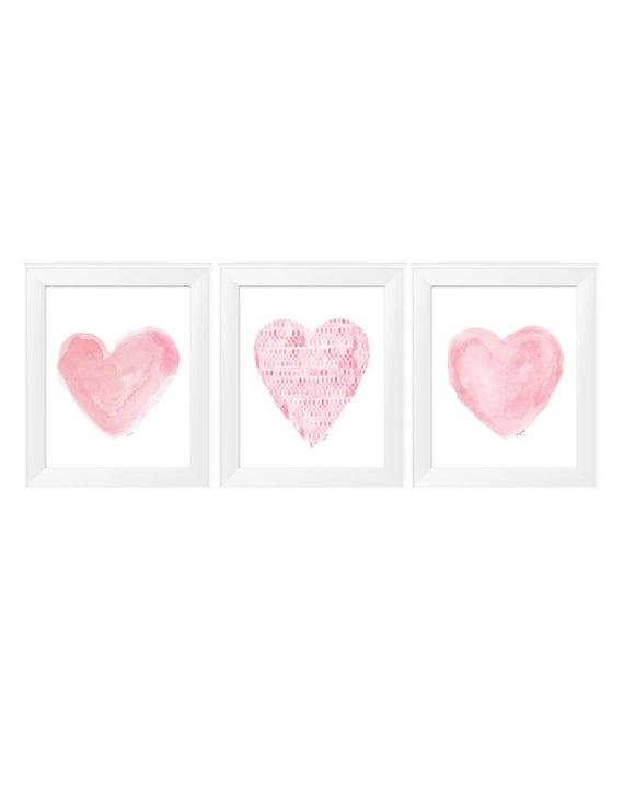 Pink Girls Wall Decor, Set of 3 - 11x14  Pink Watercolor Heart Prints