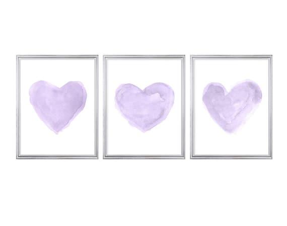 Purple Gray Wall Decor, Set of 3-11x14 Watercolor Heart Prints