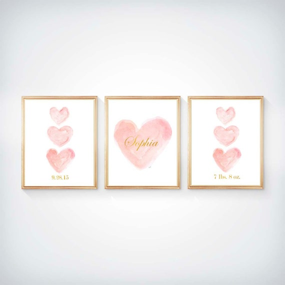 Blush Prints, Set of 3 - 8x10 Prints, Personalized with Gold Name, Birthdate, Weight