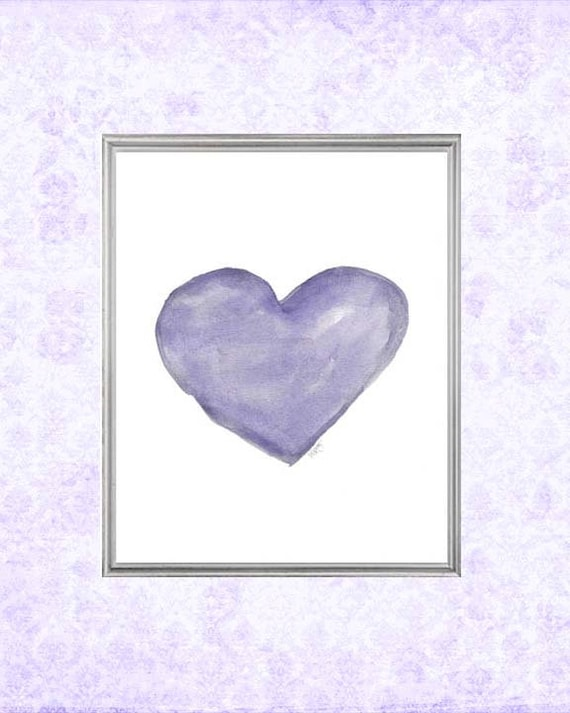 Happy Purple Heart Print for Girl , 8x10