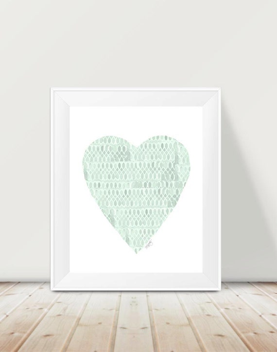 Mint Heart Baby Nursery Print, 11x14