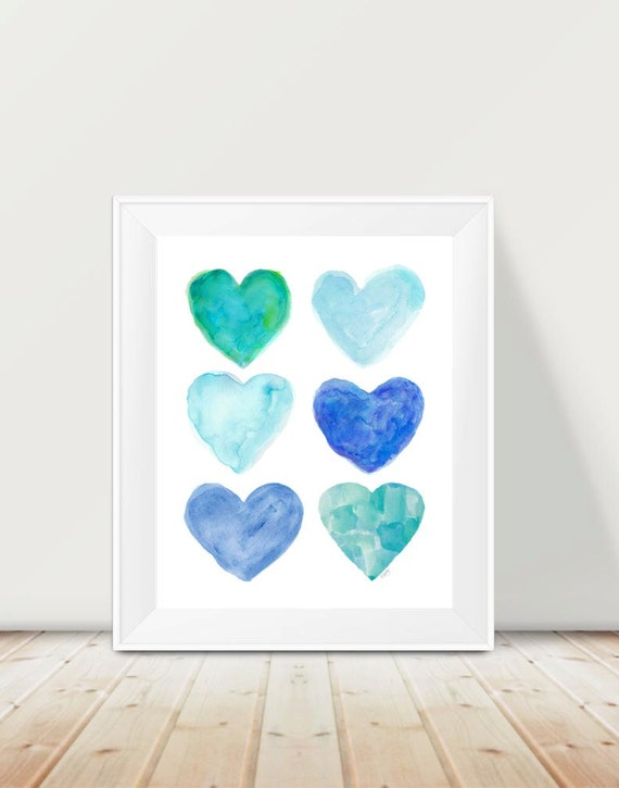 Beach Theme Nursery Print, 11x14 Watercolor Hearts Print in Aqua