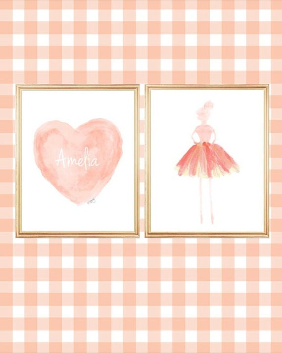 Coral Ballerina Wall Art with Personalized Heart Print, Set of 2 - 8x10