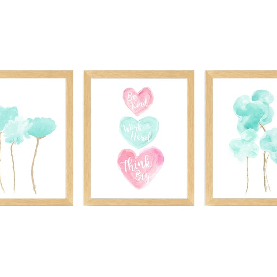 Positive Message Decor: Set of 3 Prints in Pink and Seafoam