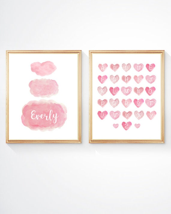 Baby Girl Nursery Prints, Set of 2 - 8x10 Prints with Clouds and ABC's