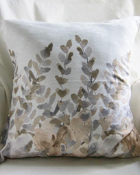 Neutral Throw Pillow Cover, 18x18, Fern Motif