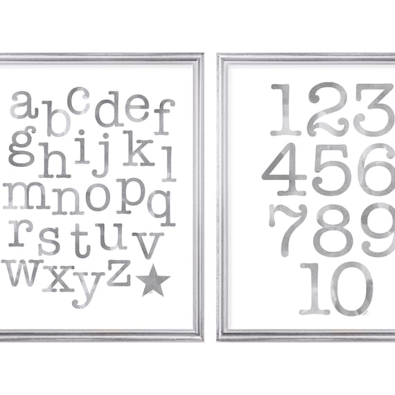Gray ABC 123 Print Set for Toddler, Set of 2-11x14 Prints