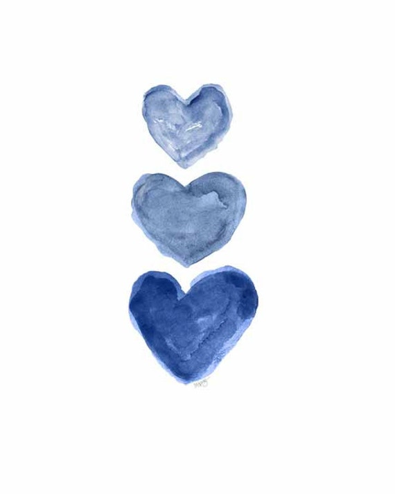 Midnight Blue Watercolor Heart Print, 5x7, 8x10
