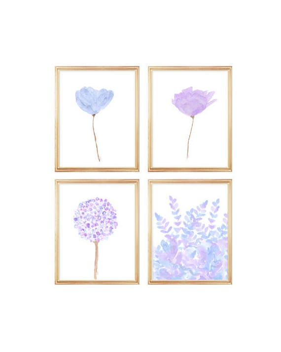 Lavender and Blue Gallery Wall, Set of 4- 8x10 Flower Prints