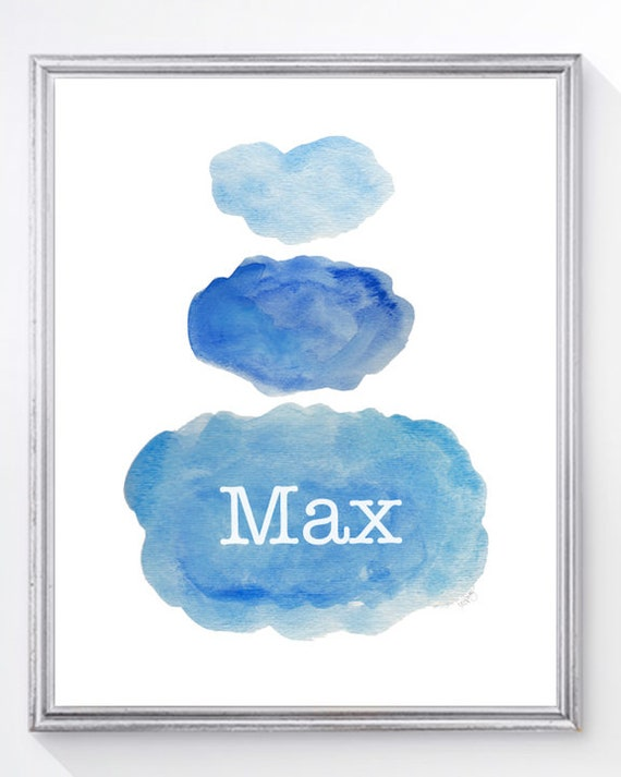 Boys Nursery Decor; Personalized Watercolor Clouds Print, 8x10