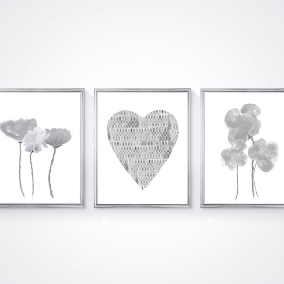 Gray Floral Prints, Set of 3, Flowers and Heart Artwork