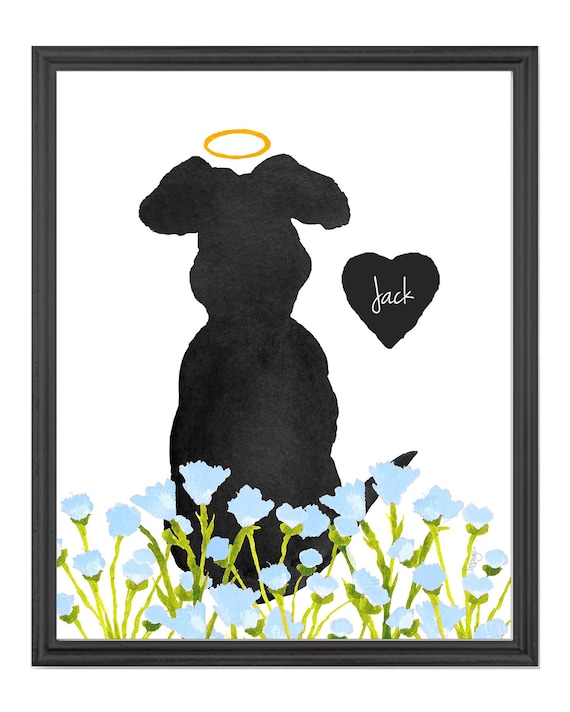Dog in Flower Garden Personalized Print