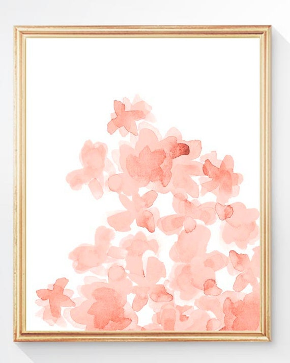 Coral Flowers Nursery Print, 8x10