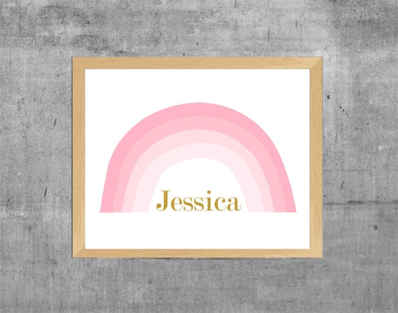 Personalized Rainbow Print in Pink and Gold, 11x14