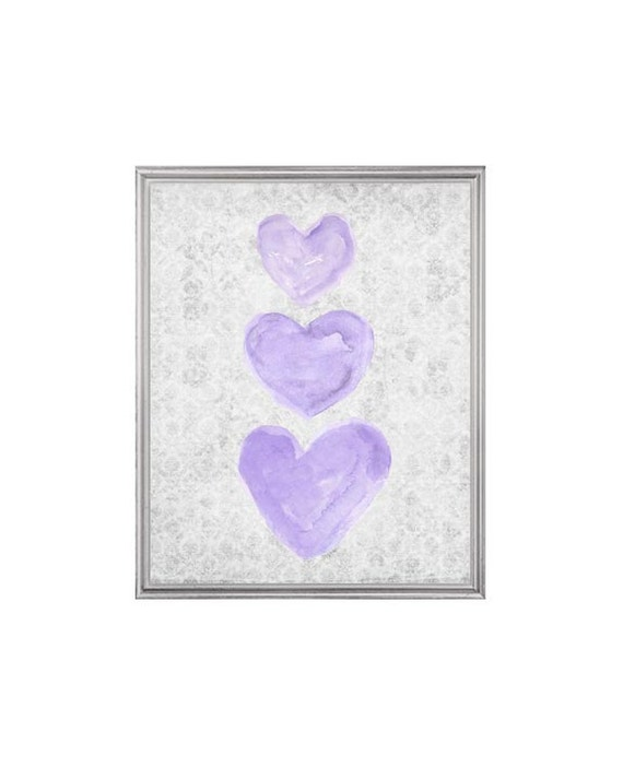 Purple and Gray Hearts Print for Nursery, 8x10 Watercolor