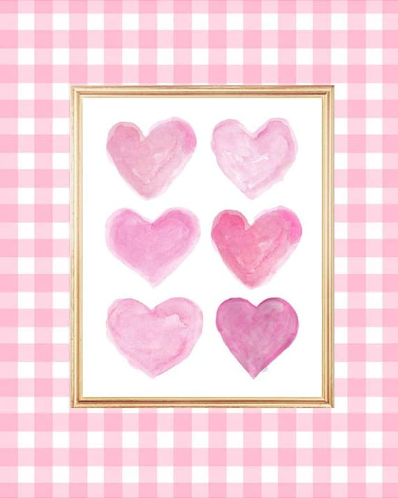 Hot Pink Wall Art for Girls Room, 8x10 Watercolor Hearts Print