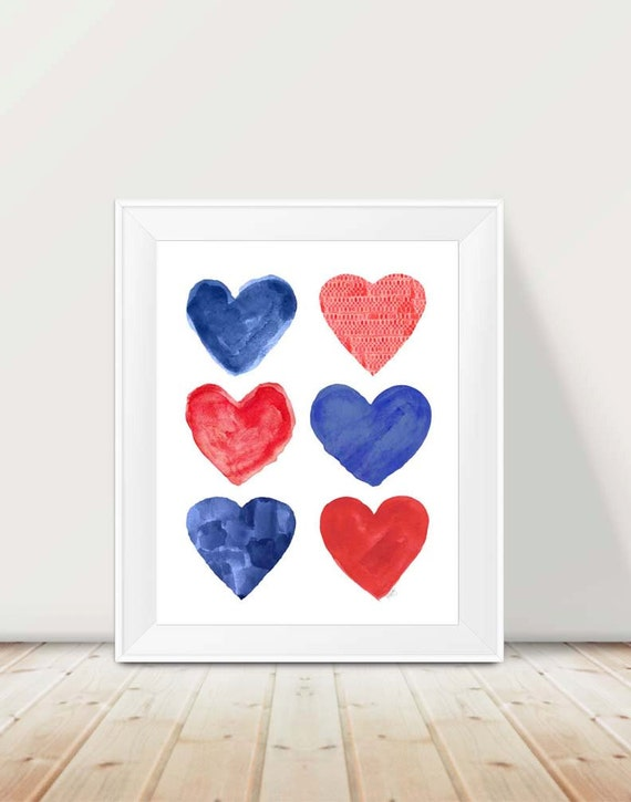 Red and Blue Nursery Decor, 11x14 Nautical Print