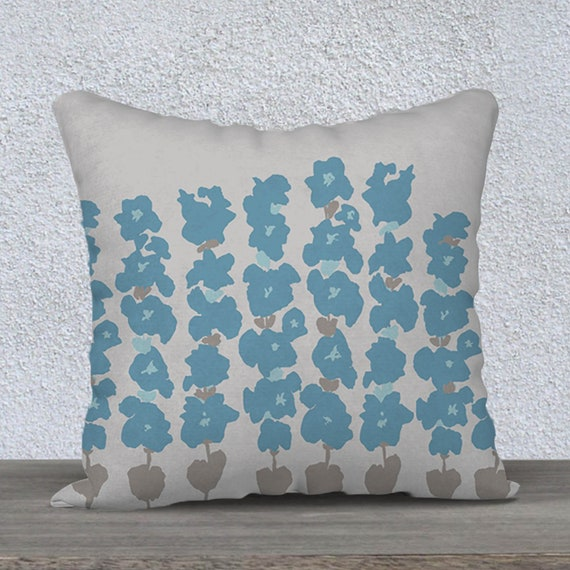 Blue and Gray Velvet Pillow Cover with Flowers, 18x18