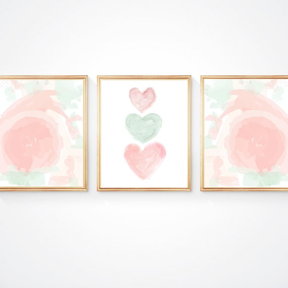 Blush and Mint Nursery Print Set, Set of 3