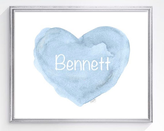 Newborn Boy Gift, Blue Heart Print Personalized with Name, 8x10