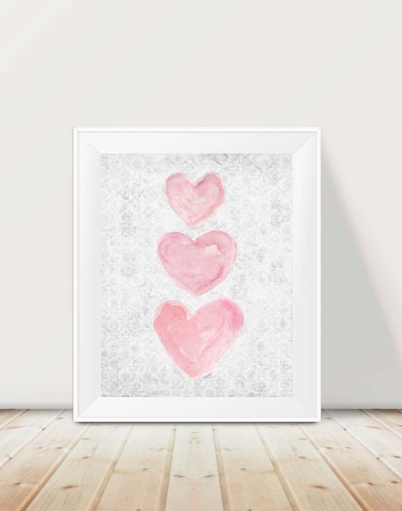 Pink and Gray Heart Print for Girls Room, 11x14