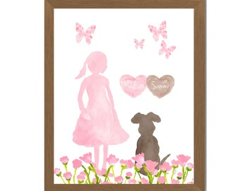 Girl with her Dog Print, Dog Memorial for Kids, Child and Pet, Kids Pet Loss, Girls Dog Best Friend, Girls Pet Loss, Children's Dog Memorial