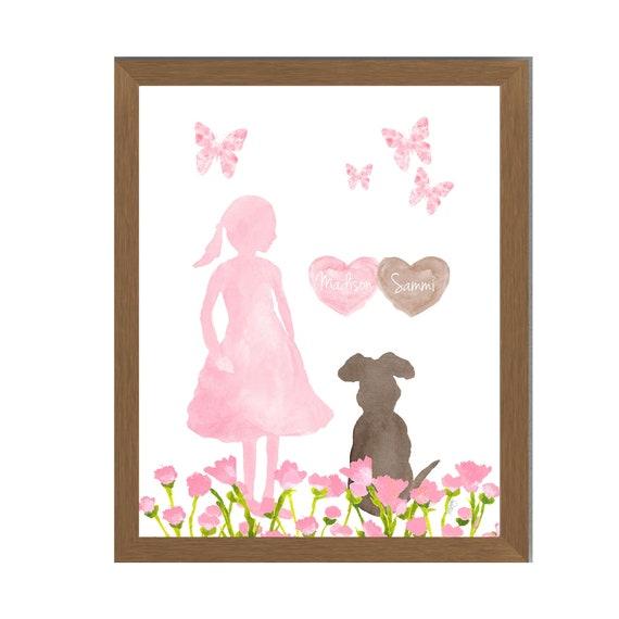 Girls Best Friend in the Garden; Personalized Dog Print