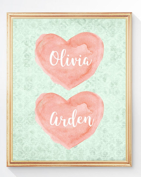 Coral and Mint Personalized Sisters Print, 11x14