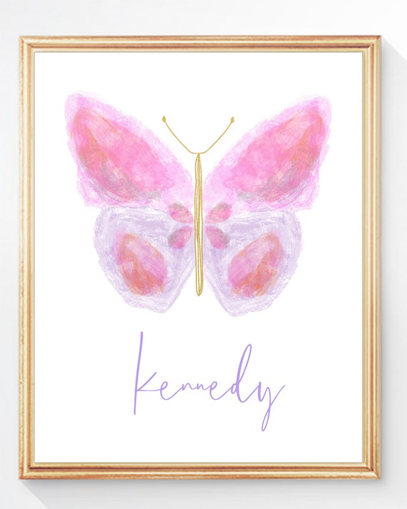 Painterly and Personalized Butterfly Print for Girls Bedroom