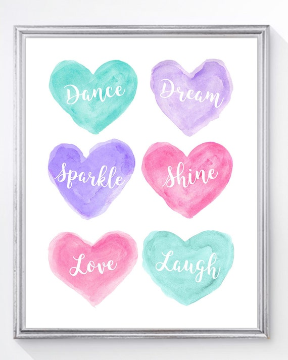 Inspirational Ballerina Print for Girls Bedroom; Dance, Sparkle, Shine