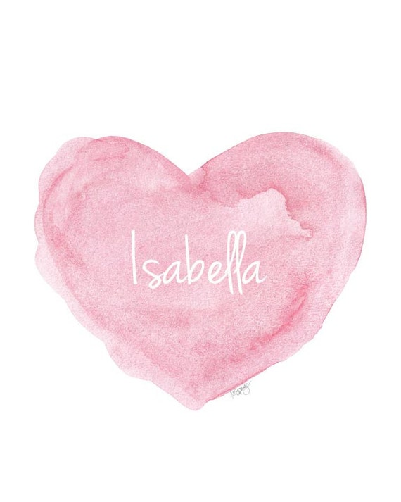 Personalized Baby Print in Pink, 8x10 Heart