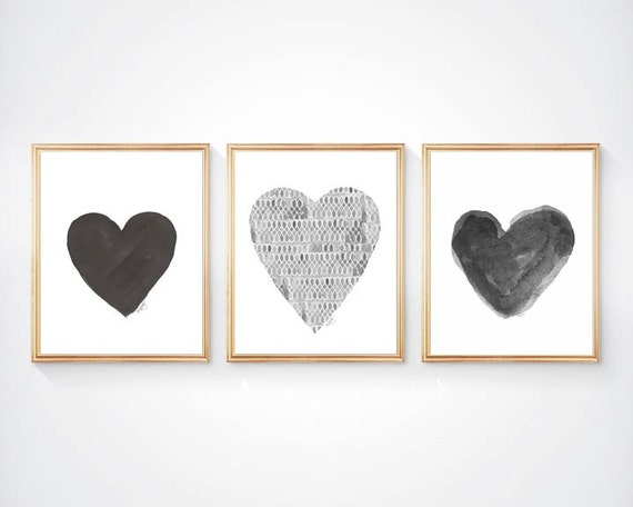 Bold Black and Gray Heart Print Set, Set of 3 - 8x10