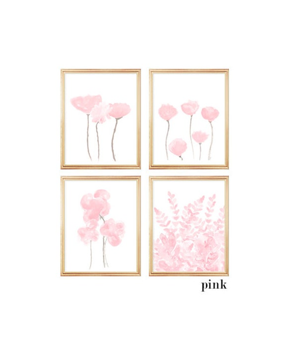 Pink Flowers Gallery Wall, Set of 4-8x10 Flower Prints