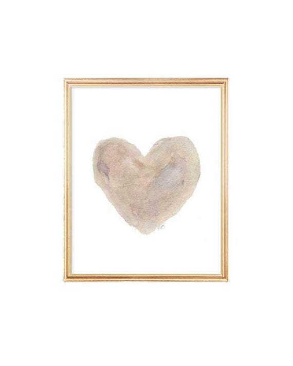 Gender Neutral Nursery Art, 8x10 Heart Print
