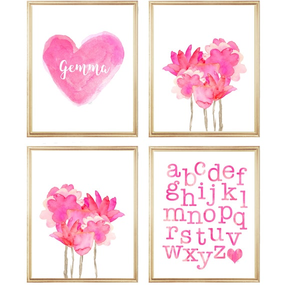 Hot Pink Gallery Wall for Young Girl, Set of 4-8x10
