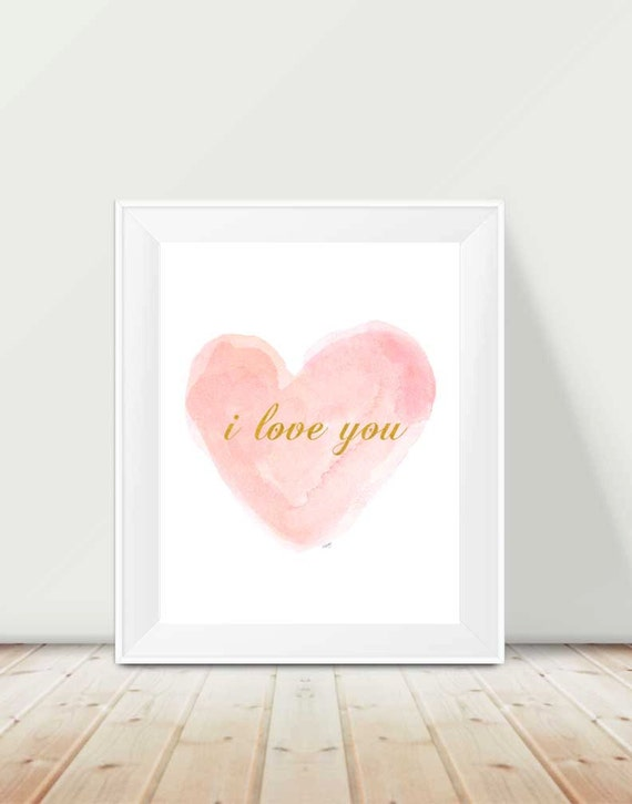 I Love You Print in Blush and Gold for Baby Nursery, 11x14