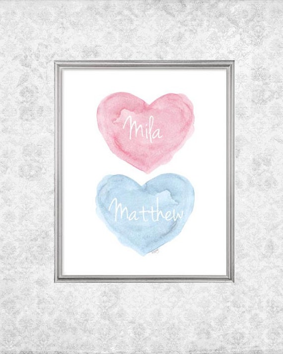 Newborn Boy Girl Twins Art Print in Pink and Blue with Custom Names, 8x10