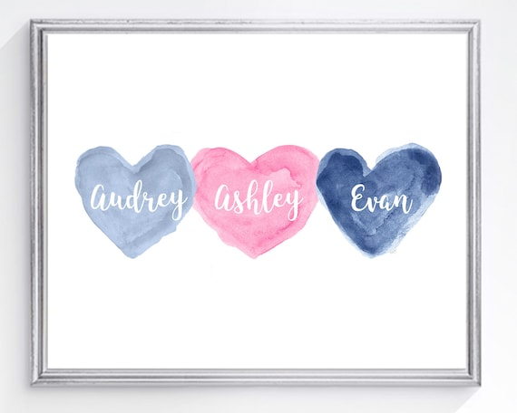 Pink and Navy Decor for Brother Sister, 8x10 Personalized Hearts Print for Triplets